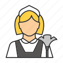 chambermaid, cleaner, housemaid, maid, parlourmaid, profession, woman icon