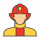 fighter, fire, firefighter, firefighting, fireman, man, profession icon