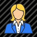 administrator, businesswoman, manager, receptionist, secretary, teacher, woman icon