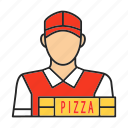 courier, delivery man, deliveryman, food, job, pizza, profession icon
