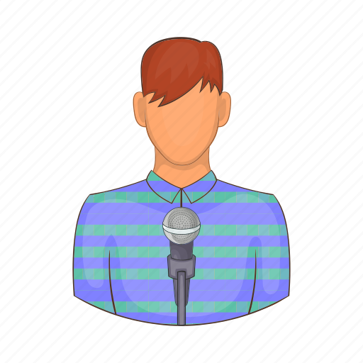 business, cartoon, male, man, microphone, reporter, voice icon