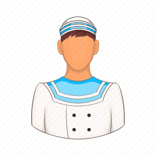 cartoon, hat, marine, sailor, sea, seaman, travel icon