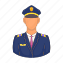 aircraft, airplane, captain, cartoon, flight, pilot, travel icon