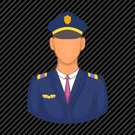aircraft, airplane, captain, cartoon, flight, pilot, travel icon