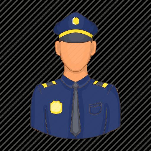 cartoon, guard, man, officer, police, policeman, security icon