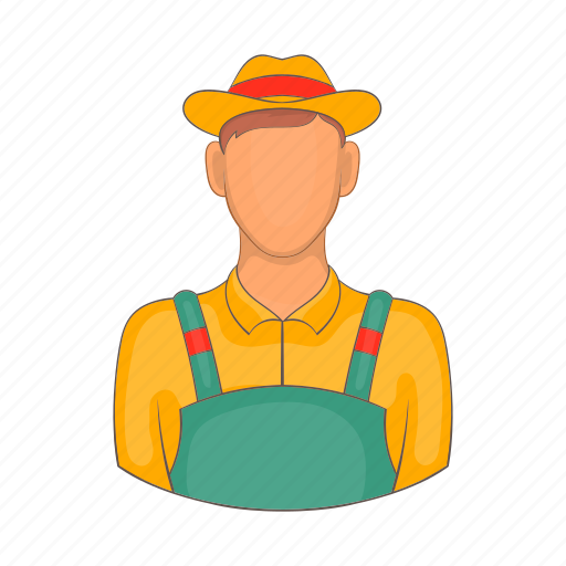agriculture, cartoon, farm, farmer, farming, field, man icon