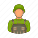 army, camouflage, cartoon, military, soldier, war, weapon icon