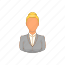 adult, business, cartoon, female, pretty, suit, teacher icon