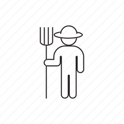 farmer, person, pitchfork, professions, straw icon