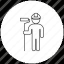 helmet, house-painter, paint roller, person, professions icon