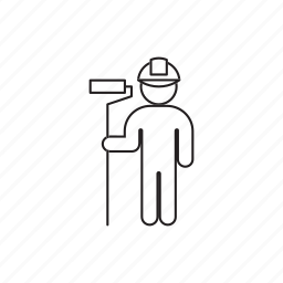 helmet, house-painter, paint roller, person, professions icon