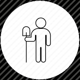digger, person, professions, spade icon