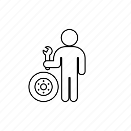 mechanic, person, professions, wheel, wrench icon