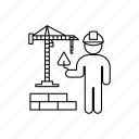 bricklayer, bricks, crane, person, professions icon