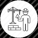 bricklayer, bricks, crane, person, professions icon