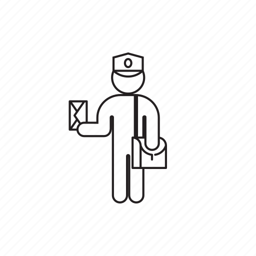bag, letter, person, postman, professions icon