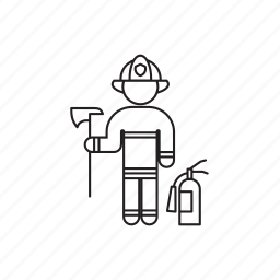 extinguisher, firefighter, helmet, person, professions icon