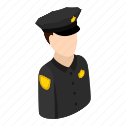 business, guard, isometric, man, officer, police, profession icon