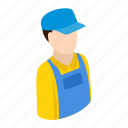 engineer, isometric, person, plumber, repairman, tool, worker icon