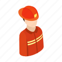 isometric, fireman, fire, firefighter, work, profession, uniform
