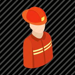 fire, firefighter, fireman, isometric, profession, uniform, work icon
