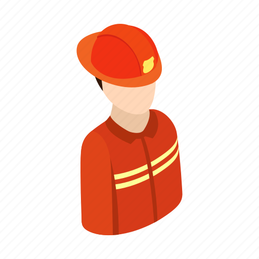 Fire, firefighter, fireman, isometric, profession, uniform, work icon - Download on Iconfinder
