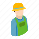 agriculture, avatar, concept, farmer, hat, isometric, male icon