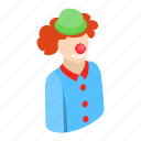 character, circus, clown, face, happy, human, isometric icon