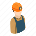helmet, isometric, miner, work, worker, job, construction