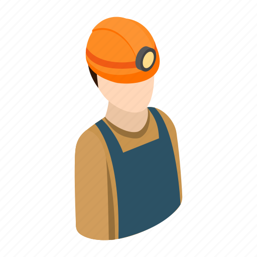 construction, helmet, isometric, job, miner, work, worker icon