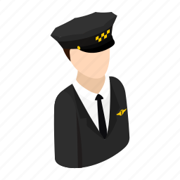 cap, driver, hat, isometric, taxi, transportation, work icon