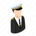isometric, travel, airport, plane, airline, hat, pilot