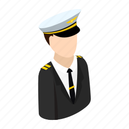 airline, airport, hat, isometric, pilot, plane, travel icon