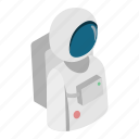 astronaut, cosmonaut, isometric, moon, person, space, spaceman icon