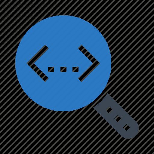 coding, glass, magnifier, scripting, search icon