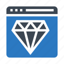 browser, diamond, jewelry, webpage, window icon