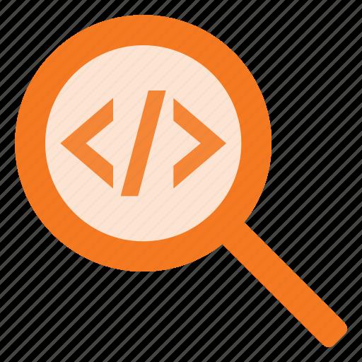 code, coding, development, prodraming, search icon