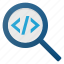 code, coding, development, prodraming, search icon