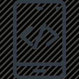 code, development, mobile, programing, source icon