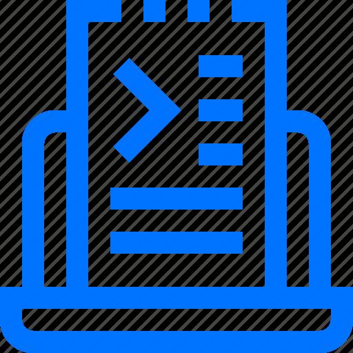 coding, development, document, file, notebook, programming, script icon