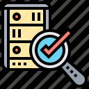 hosting, mainframe, network, verified, website icon
