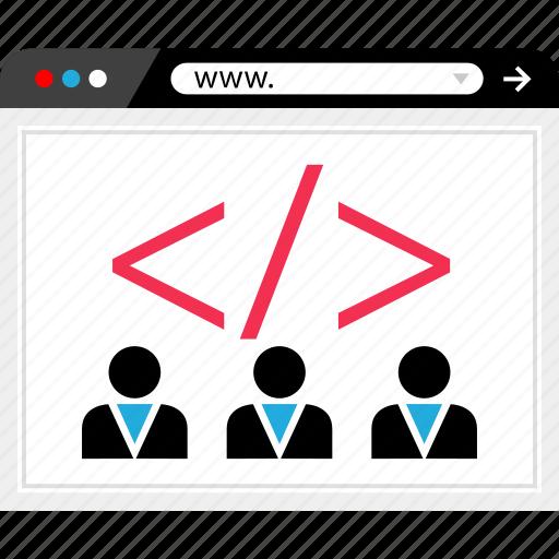 browser, code, developers, internet, line, online, web icon