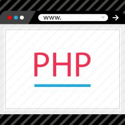 browser, code, internet, online, php, program, web icon