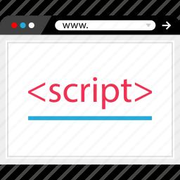 browser, development, internet, language, online, script, web icon