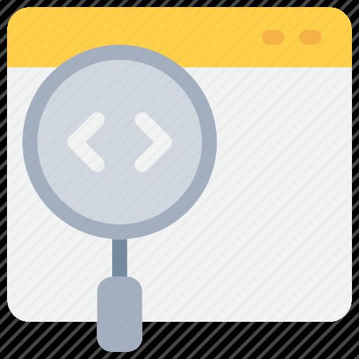 code, develop, programming, search, website icon