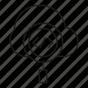 cloud, internet, magnifier, network, programming, search, seo