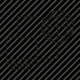 computer, connect, desktop, link, network icon