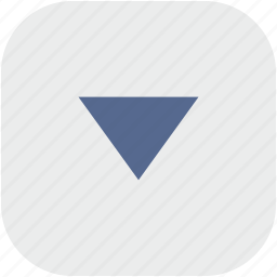 arrow, bottom, down, rounded, square icon