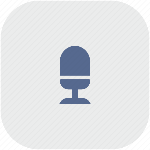 mic, microphone, record, rounded, square icon