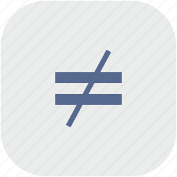 equal, function, math, not, rounded, square icon